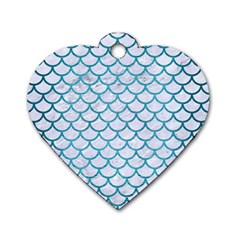 Scales1 White Marble & Teal Brushed Metal (r) Dog Tag Heart (two Sides) by trendistuff