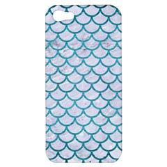 Scales1 White Marble & Teal Brushed Metal (r) Apple Iphone 5 Hardshell Case by trendistuff
