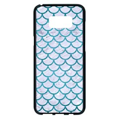 Scales1 White Marble & Teal Brushed Metal (r) Samsung Galaxy S8 Plus Black Seamless Case by trendistuff
