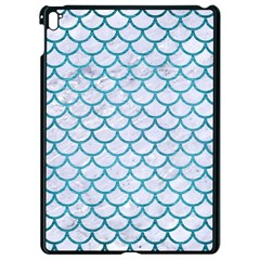 Scales1 White Marble & Teal Brushed Metal (r) Apple Ipad Pro 9 7   Black Seamless Case