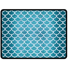 Scales1 White Marble & Teal Brushed Metal Double Sided Fleece Blanket (large)  by trendistuff