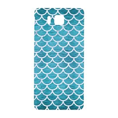 Scales1 White Marble & Teal Brushed Metal Samsung Galaxy Alpha Hardshell Back Case by trendistuff