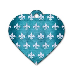 Royal1 White Marble & Teal Brushed Metal (r) Dog Tag Heart (one Side) by trendistuff