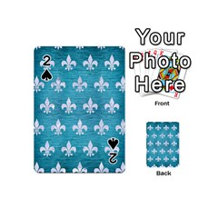 Royal1 White Marble & Teal Brushed Metal (r) Playing Cards 54 (mini)  by trendistuff