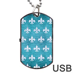 Royal1 White Marble & Teal Brushed Metal (r) Dog Tag Usb Flash (one Side) by trendistuff