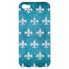 Royal1 White Marble & Teal Brushed Metal (r) Apple Iphone 5 Hardshell Case by trendistuff