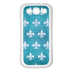 Royal1 White Marble & Teal Brushed Metal (r) Samsung Galaxy S3 Back Case (white)