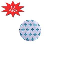 Royal1 White Marble & Teal Brushed Metal 1  Mini Magnet (10 Pack)  by trendistuff