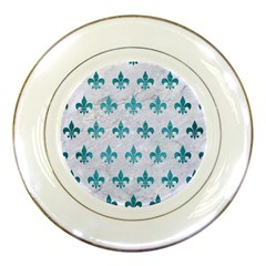 Royal1 White Marble & Teal Brushed Metal Porcelain Plates by trendistuff