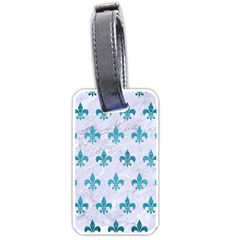 Royal1 White Marble & Teal Brushed Metal Luggage Tags (one Side)  by trendistuff