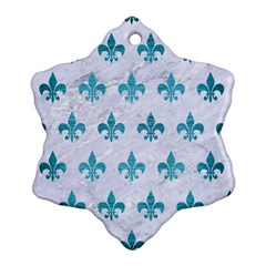 Royal1 White Marble & Teal Brushed Metal Snowflake Ornament (two Sides) by trendistuff