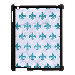 Royal1 White Marble & Teal Brushed Metal Apple Ipad 3/4 Case (black) by trendistuff