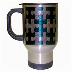 Puzzle1 White Marble & Teal Brushed Metal Travel Mug (silver Gray) by trendistuff