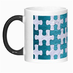 Puzzle1 White Marble & Teal Brushed Metal Morph Mugs by trendistuff