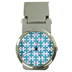 Puzzle1 White Marble & Teal Brushed Metal Money Clip Watches by trendistuff