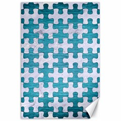 Puzzle1 White Marble & Teal Brushed Metal Canvas 20  X 30   by trendistuff
