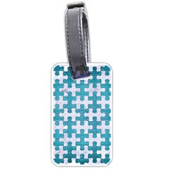 Puzzle1 White Marble & Teal Brushed Metal Luggage Tags (one Side)  by trendistuff