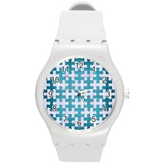 Puzzle1 White Marble & Teal Brushed Metal Round Plastic Sport Watch (m) by trendistuff