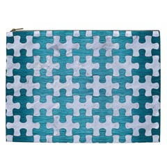 Puzzle1 White Marble & Teal Brushed Metal Cosmetic Bag (xxl)  by trendistuff