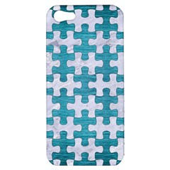Puzzle1 White Marble & Teal Brushed Metal Apple Iphone 5 Hardshell Case by trendistuff