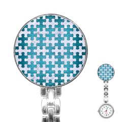 Puzzle1 White Marble & Teal Brushed Metal Stainless Steel Nurses Watch by trendistuff
