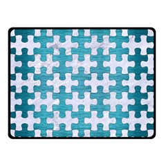 Puzzle1 White Marble & Teal Brushed Metal Double Sided Fleece Blanket (small)  by trendistuff
