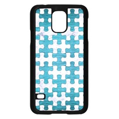 Puzzle1 White Marble & Teal Brushed Metal Samsung Galaxy S5 Case (black) by trendistuff