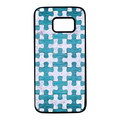 Puzzle1 White Marble & Teal Brushed Metal Samsung Galaxy S7 Black Seamless Case by trendistuff