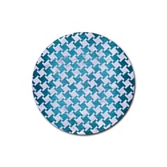 Houndstooth2 White Marble & Teal Brushed Metal Rubber Coaster (round)