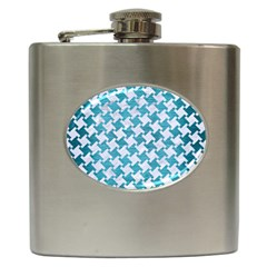 Houndstooth2 White Marble & Teal Brushed Metal Hip Flask (6 Oz) by trendistuff