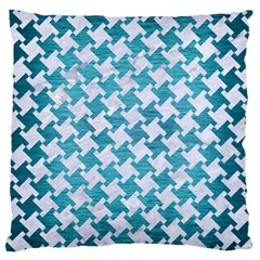 Houndstooth2 White Marble & Teal Brushed Metal Large Cushion Case (one Side) by trendistuff