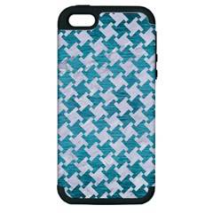 Houndstooth2 White Marble & Teal Brushed Metal Apple Iphone 5 Hardshell Case (pc+silicone) by trendistuff