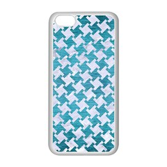 Houndstooth2 White Marble & Teal Brushed Metal Apple Iphone 5c Seamless Case (white) by trendistuff