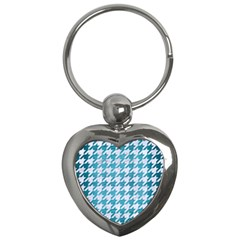 Houndstooth1 White Marble & Teal Brushed Metal Key Chains (heart)  by trendistuff