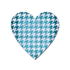 Houndstooth1 White Marble & Teal Brushed Metal Heart Magnet by trendistuff