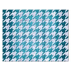 Houndstooth1 White Marble & Teal Brushed Metal Rectangular Jigsaw Puzzl by trendistuff