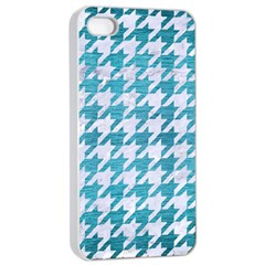 Houndstooth1 White Marble & Teal Brushed Metal Apple Iphone 4/4s Seamless Case (white) by trendistuff