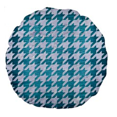 Houndstooth1 White Marble & Teal Brushed Metal Large 18  Premium Round Cushions by trendistuff