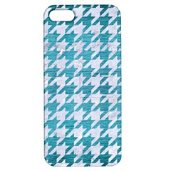 Houndstooth1 White Marble & Teal Brushed Metal Apple Iphone 5 Hardshell Case With Stand by trendistuff
