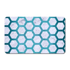 Hexagon2 White Marble & Teal Brushed Metal (r) Magnet (rectangular) by trendistuff