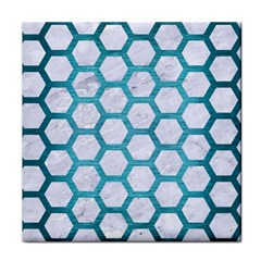 Hexagon2 White Marble & Teal Brushed Metal (r) Face Towel by trendistuff