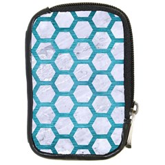 Hexagon2 White Marble & Teal Brushed Metal (r) Compact Camera Cases by trendistuff