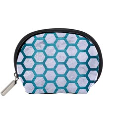Hexagon2 White Marble & Teal Brushed Metal (r) Accessory Pouches (small)