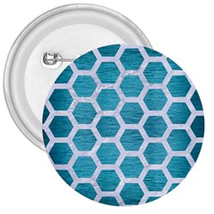Hexagon2 White Marble & Teal Brushed Metal 3  Buttons by trendistuff