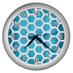 Hexagon2 White Marble & Teal Brushed Metal Wall Clocks (silver)  by trendistuff