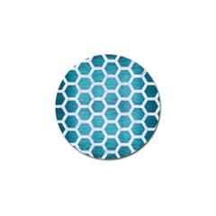 Hexagon2 White Marble & Teal Brushed Metal Golf Ball Marker (10 Pack) by trendistuff