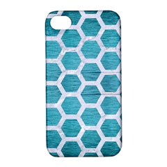Hexagon2 White Marble & Teal Brushed Metal Apple Iphone 4/4s Hardshell Case With Stand by trendistuff