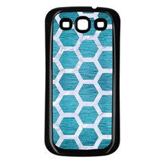 Hexagon2 White Marble & Teal Brushed Metal Samsung Galaxy S3 Back Case (black) by trendistuff