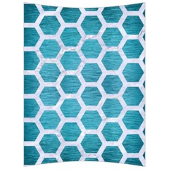 Hexagon2 White Marble & Teal Brushed Metal Back Support Cushion by trendistuff