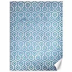 Hexagon1 White Marble & Teal Brushed Metal (r) Canvas 36  X 48   by trendistuff